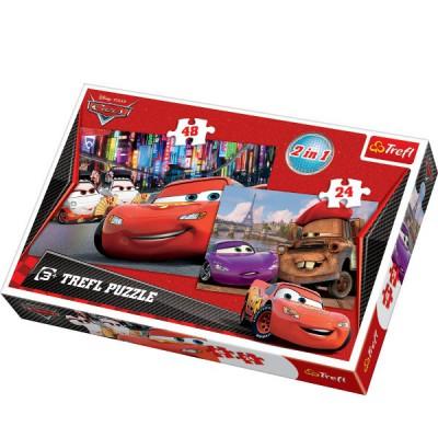 Trefl-34102 2 Puzzles in 1: Cars und Fans