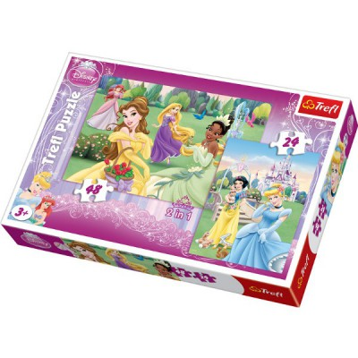 Trefl-34103 2 Puzzles in 1: Disney Prinzessinnen