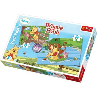 Trefl-34104 2 Puzzles in 1: Winnie und Tigger und Co.