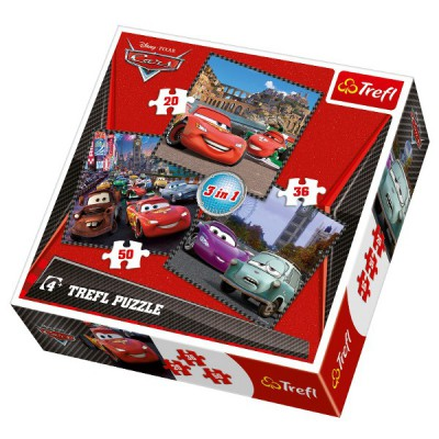 Trefl-34105 3 Puzzles: Cars