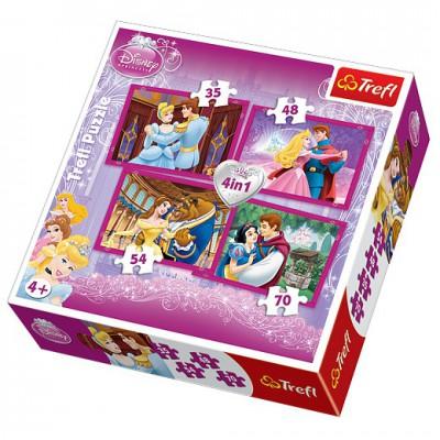 Trefl-34110 Puzzle 4 Stück - Disney Prinzesinnen und ihre Prinzen
