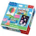 Trefl-34131 4 Puzzles in 1: Peppa Pig, das lustige Schwein