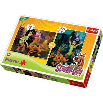 Trefl-34144 2 Puzzles: Scooby-Doo und die Geister
