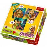 Trefl-34145 3 Puzzles in 1: Samy und Scooby-Doo