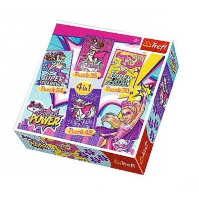 Trefl-34251 4 Puzzles - Barbie