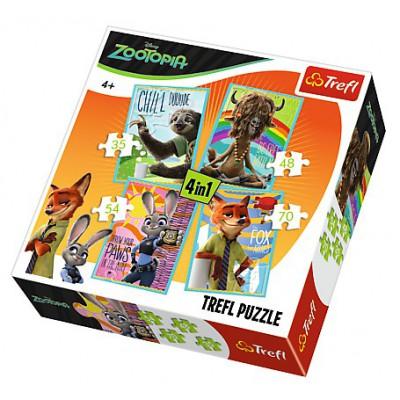 Trefl-34258 4 Puzzles - Zootopia