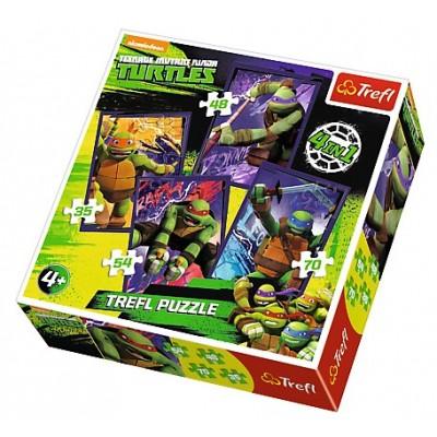 Trefl-34266 4 Puzzles - Ninja Turtles
