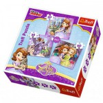Trefl-34814 3 Puzzles - Disney Sofia die Erste