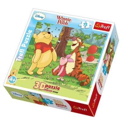 Trefl-35558 Puzzle 72 Teile 3D - Winnie und seine Freunde lieben die Bienen