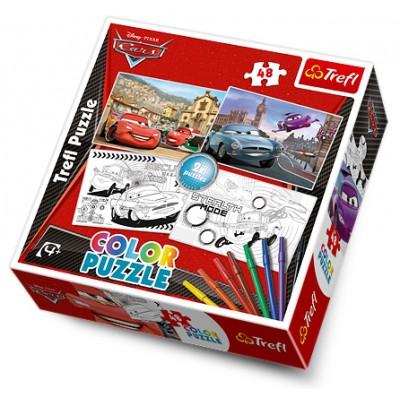 Trefl-36502 2 Puzzle und 8 Filzstifte - Cars