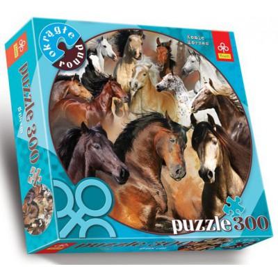 Trefl-39043 Puzzle 300 Teile rund - Pferde