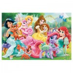 Trefl-90502 Puzzle + 20 Tattoos: Disney Princesses