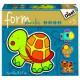 4 Form-Puzzles - Schildkröte, Huhn, Hund und Fisch