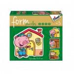 Diset-69944 4 Formpuzzles: Die drei kleinen Schweinchen