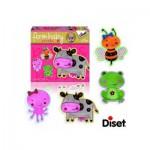 Diset-69952 4 Form-Puzzles - Kuh, Frosch, Biene und Tintenfisch