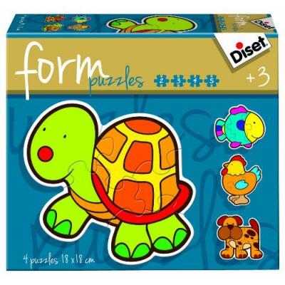 Diset-69953 4 Form-Puzzles - Schildkröte, Huhn, Hund und Fisch