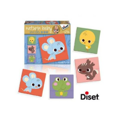 Diset-69955 4 Puzzles Natur - Maus, Eichhörnchen, Küken und Frosch
