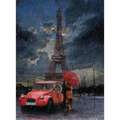 Puzzle Art-Puzzle-4407 Eiffel, Rain and Love