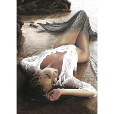 Puzzle Art-Puzzle-4443 Meerjungfrau im Abendrot