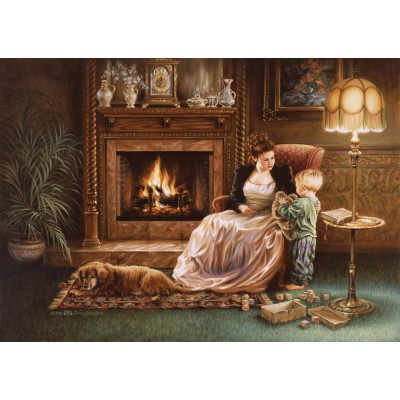 Puzzle Art-Puzzle-4614 Dona Gelsinger: Serenity by the Fireplace