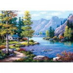 Puzzle  Art-Puzzle-4718 Lakeside Lodge