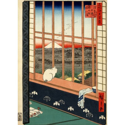 Puzzle Grafika-Kids-00266 Hiroshige Utagawa: Asakusas Reisfelder und Torinomachi-Fest, 1857
