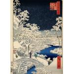 Puzzle  Grafika-Kids-00271 Hiroshige Utagawa: Trommelbrücke und Hügel der untergehenden Sonne, 1857