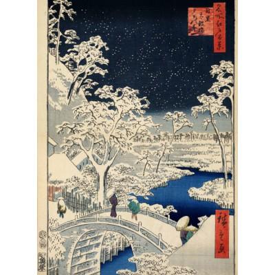 Puzzle Grafika-Kids-00274 Hiroshige Utagawa: Trommelbrücke und Hügel der untergehenden Sonne, 1857
