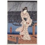 Puzzle  Grafika-Kids-00275 XXL Teile - Hiroshige Utagawa: Abend auf dem Sumida-Fluss, 1847-1848