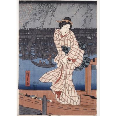 Puzzle Grafika-Kids-00277 Hiroshige Utagawa: Abend auf dem Sumida-Fluss, 1847-1848