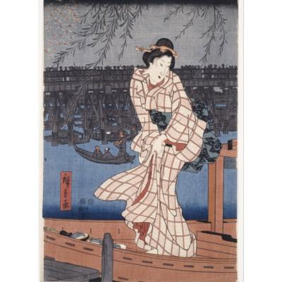 Puzzle Grafika-Kids-00283 Hiroshige Utagawa: Abend auf dem Sumida-Fluss, 1847-1848