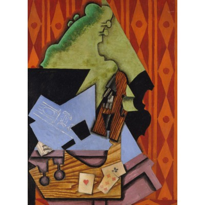 Puzzle Grafika-Kids-00716 Juan Gris: Violine und Spielkarten auf einer Tabelle, 1913