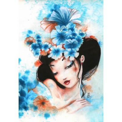 Puzzle Grafika-Kids-00739 Misstigri: Blue Flowers