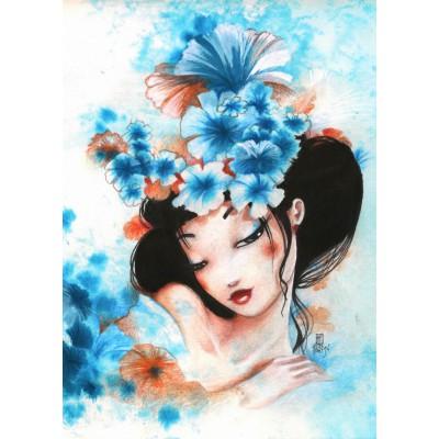 Puzzle Grafika-Kids-00742 Magnetische Teile - Misstigri: Blue Flowers