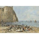 Puzzle  Grafika-Kids-00853 Eugène Boudin: Washerwomen on the Beach of Etretat, 1894