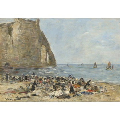 Puzzle Grafika-Kids-00853 Eugène Boudin: Washerwomen on the Beach of Etretat, 1894