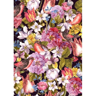 Puzzle Grafika-Kids-01175 Magnetische Teile - Vintage Flowers and Birds
