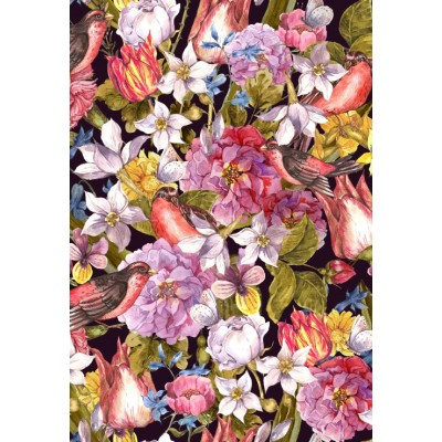 Puzzle Grafika-Kids-01177 XXL Teile - Vintage Flowers and Birds
