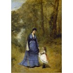 Puzzle  Grafika-Kids-01346 Jean-Baptiste-Camille Corot: Madame Stumpf and Her Daughter, 1872