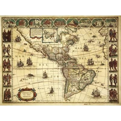 Puzzle Grafika-00168 Willem Janszoon Blaeu: Carte de l'Amérique en 1645