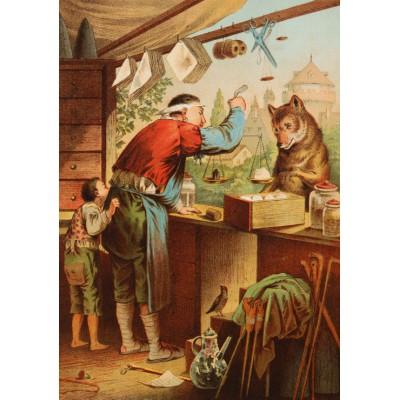 Puzzle Grafika-00209 Carl Offterdinger:Der Wolf und die sieben Geißlein, XIXe Siècle