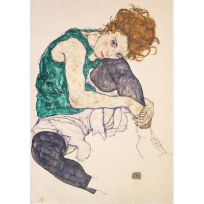 Puzzle Grafika-00212 Egon Schiele: Sitzende Frau mit gebeugten Knie, 1917