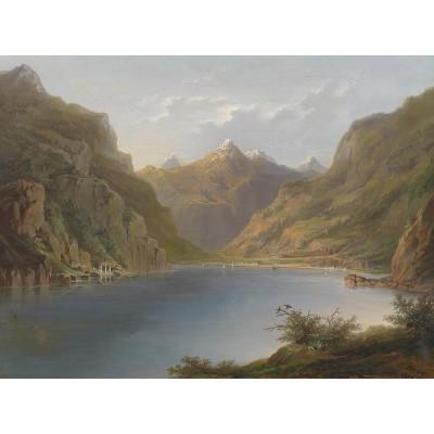 Puzzle Grafika-00382 Hermann Ottomar Herzog: Vierwaldstättersee, 1882