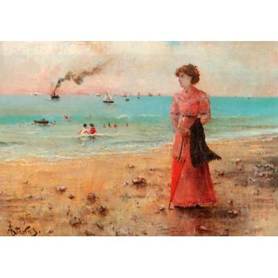 Puzzle Grafika-00482 Alfred Stevens: Jeune Femme à l'Ombrelle Rouge au Bord de la Mer, 1885