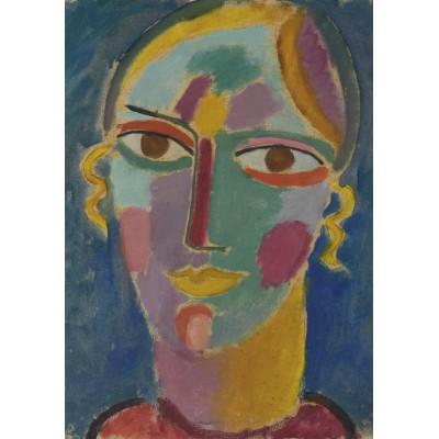 Puzzle Grafika-00527 Alexej von Jawlensky: Mystischer Kopf: Frauenkopf auf blauem Grund, 1917