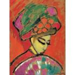 Puzzle  Grafika-00528 Alexej von Jawlensky: Jeune Fille au Chapeau Fleuri, 1910