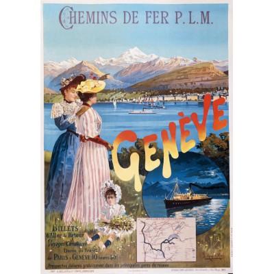 Puzzle Grafika-00608 Poster of the PLM railway company: Paris - Genève, 1895