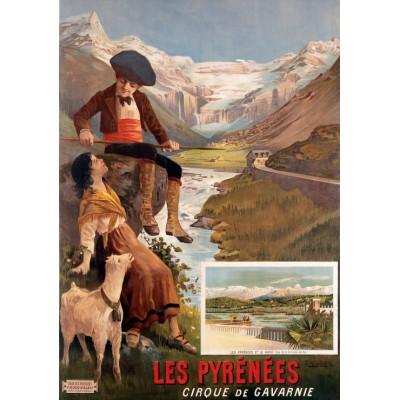 Puzzle Grafika-00609 Affiche pour Les Chemins de Fer P.L.M: Les Pyrénées - Le Cirque de Gavarnie, XIXè Siècle