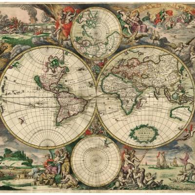 Puzzle Grafika-00641 Carte du Monde, Produced in Amsterdam, 1689