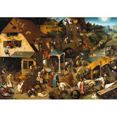 Puzzle Grafika-00706 Brueghel Pieter: Die niederländischen Sprichwörter, 1559